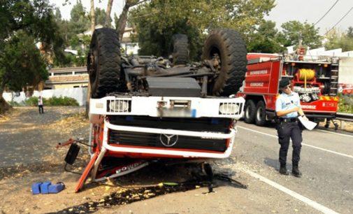 Viatura dos Bombeiros Voluntários de Ovar capotou e provocou cinco feridos
