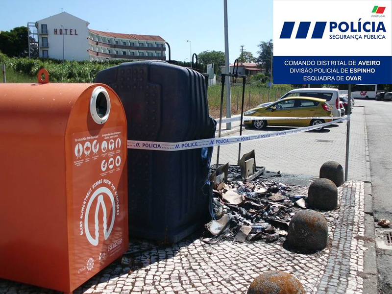 Detido suspeito de atear fogo a ecopontos no centro da cidade